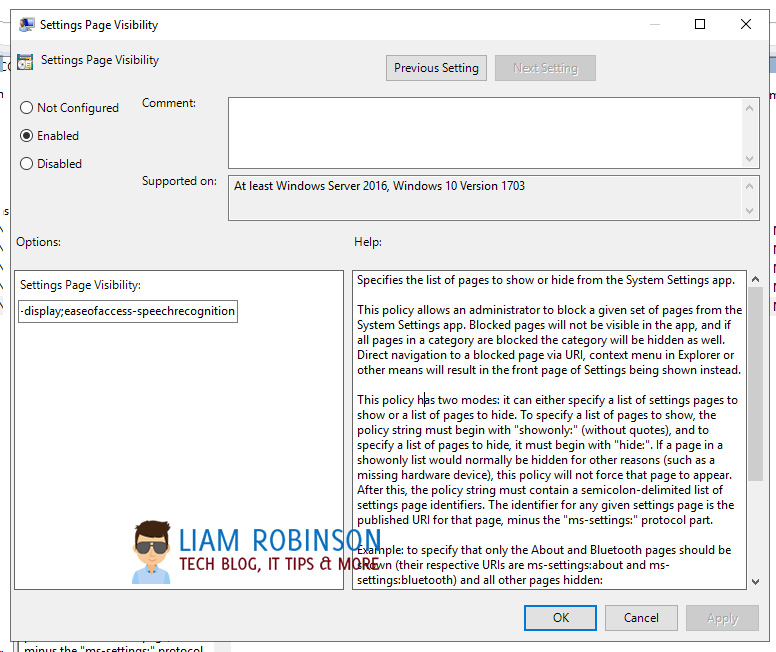 Settings Page Visibility options in Group Policy Users & Computers
